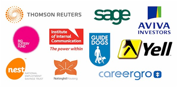 Thomson Reuters, Aviva Investors, Sage, Guide Dogs, BIG Lottery Fund, Careergro, NEST, Yell