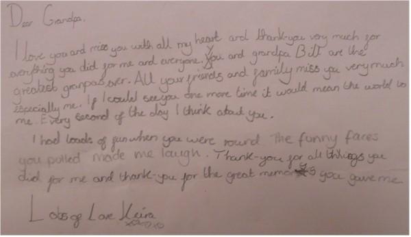 Keira's Letter to Grandpa
