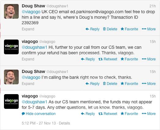 Viagogo tweets